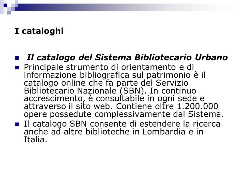 I cataloghi Il catalogo del Sistema Bibliotecario Urbano.