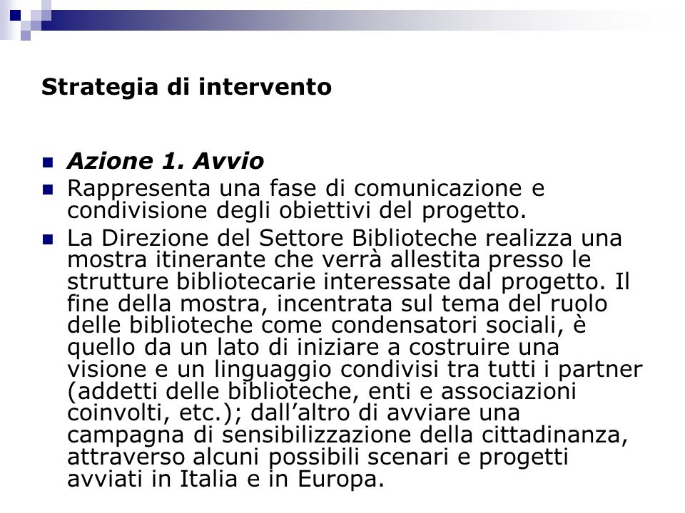 Strategia di intervento