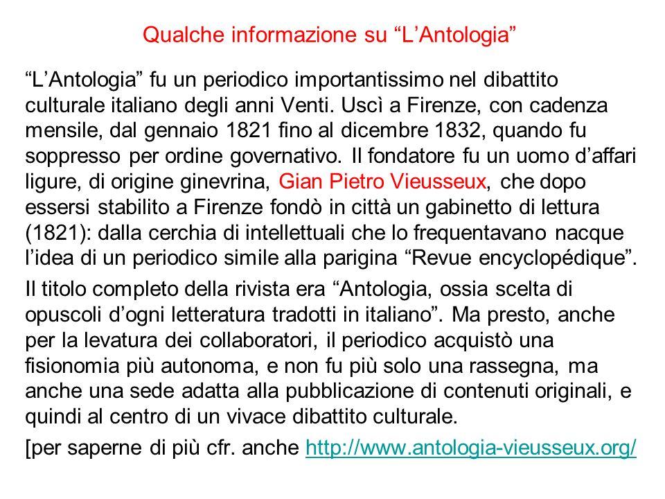 Qualche informazione su L'Antologia