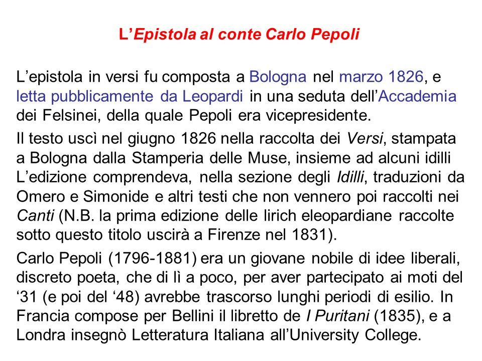L'Epistola al conte Carlo Pepoli