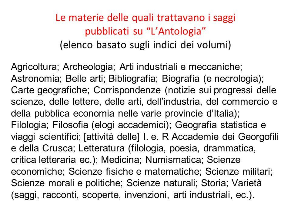 Le materie delle quali trattavano i saggi pubblicati su L'Antologia (elenco basato sugli indici dei volumi)