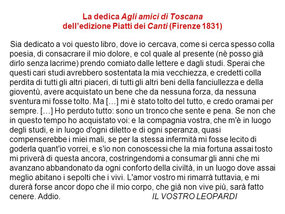 La dedica Agli amici di Toscana dell'edizione Piatti dei Canti (Firenze 1831)