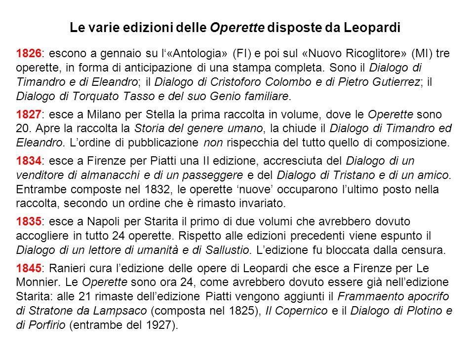 Le varie edizioni delle Operette disposte da Leopardi