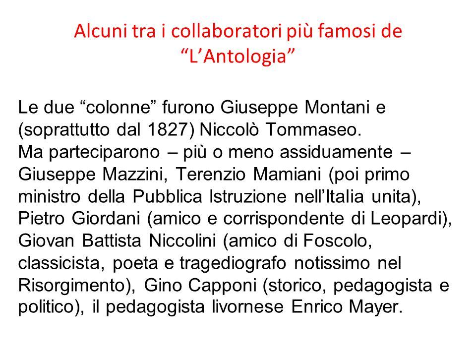Alcuni tra i collaboratori più famosi de L'Antologia