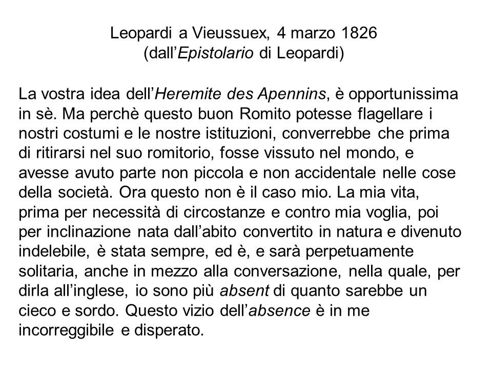Leopardi a Vieussuex, 4 marzo 1826 (dall'Epistolario di Leopardi)