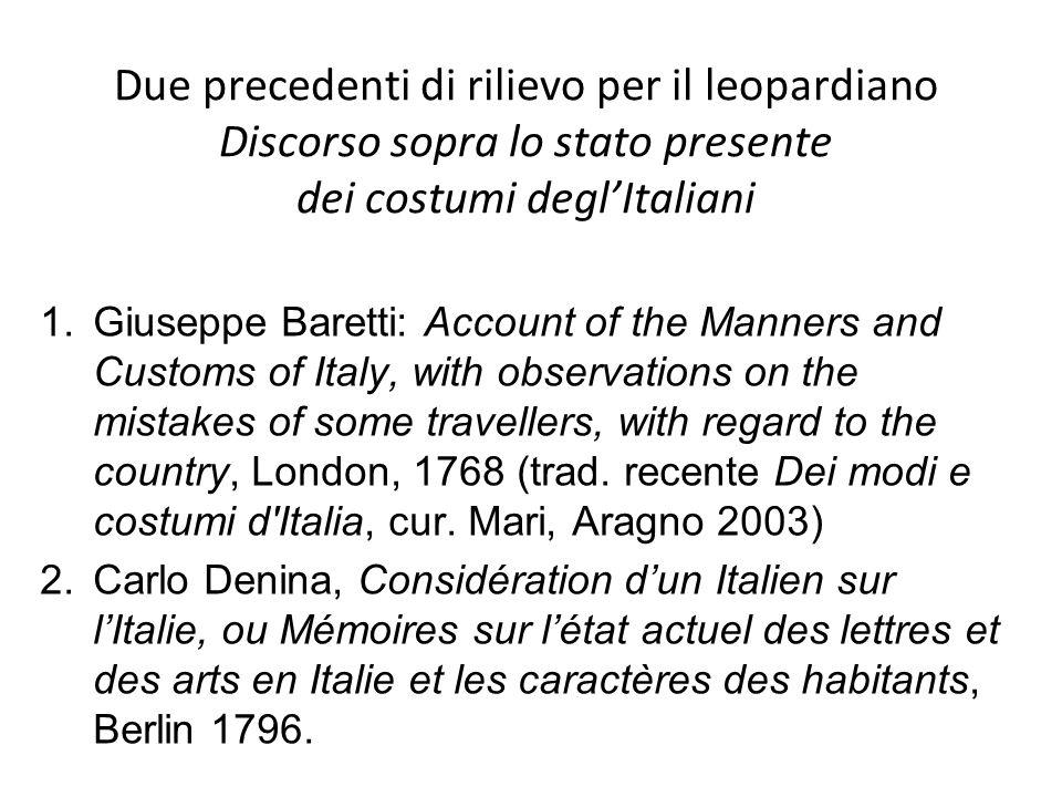 Due precedenti di rilievo per il leopardiano Discorso sopra lo stato presente dei costumi degl'Italiani