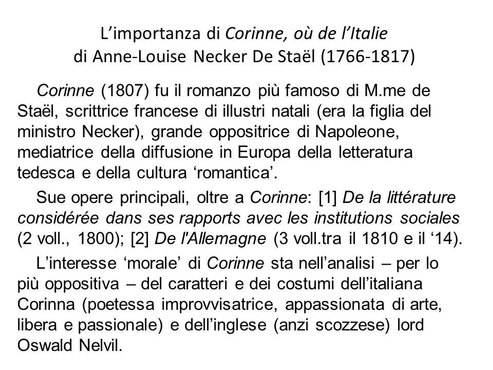 L'importanza di Corinne, où de l'Italie di Anne-Louise Necker De Staël (1766-1817)