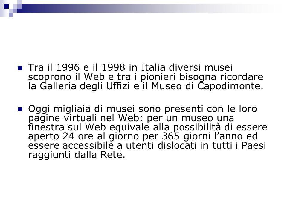 Tra il 1996 e il 1998 in Italia diversi musei scoprono il Web e tra i pionieri bisogna ricordare la Galleria degli Uffizi e il Museo di Capodimonte.