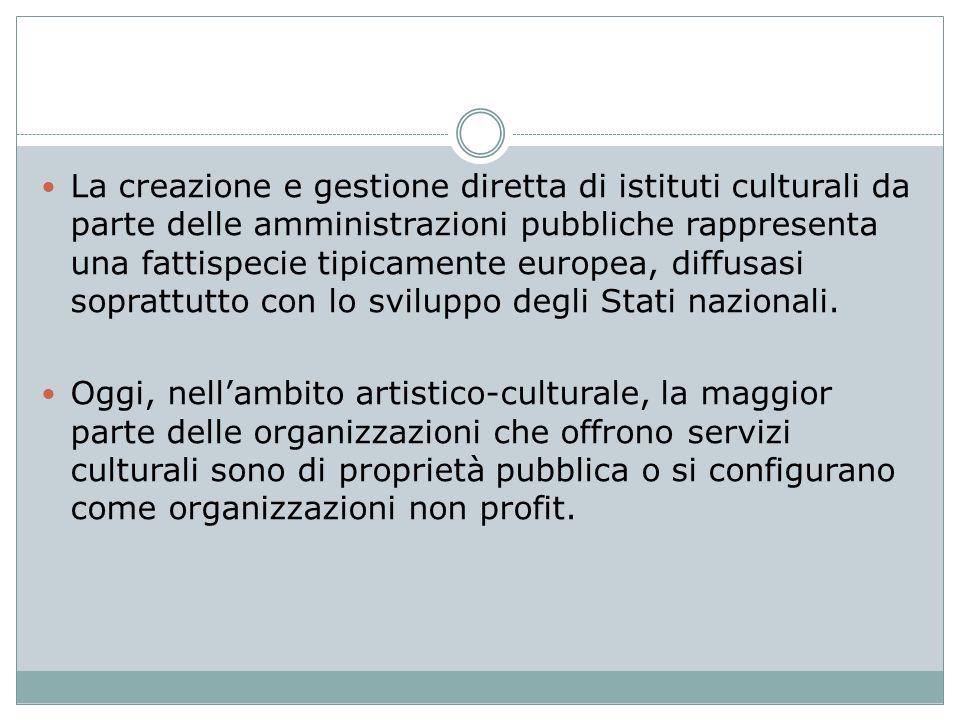 La creazione e gestione diretta di istituti culturali da parte delle amministrazioni pubbliche rappresenta una fattispecie tipicamente europea, diffusasi soprattutto con lo sviluppo degli Stati nazionali.
