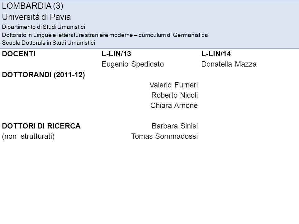 LOMBARDIA (3) Università di Pavia DOCENTI L-LIN/13 L-LIN/14