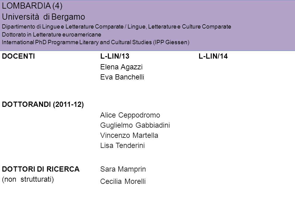 LOMBARDIA (4) Università di Bergamo DOCENTI L-LIN/13 L-LIN/14