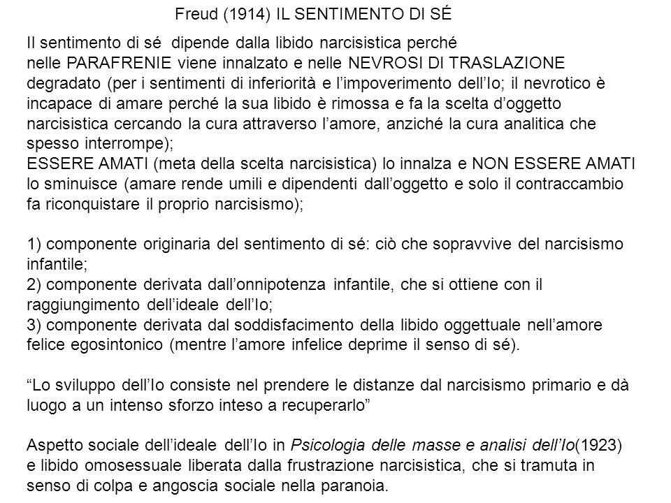 Freud (1914) IL SENTIMENTO DI SÉ