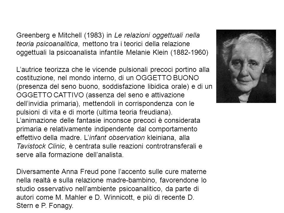Greenberg e Mitchell (1983) in Le relazioni oggettuali nella teoria psicoanalitica, mettono tra i teorici della relazione oggettuali la psicoanalista infantile Melanie Klein (1882-1960)