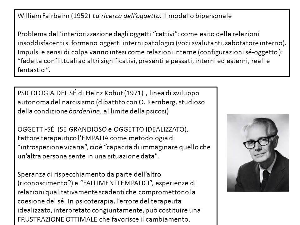William Fairbairn (1952) La ricerca dell'oggetto: il modello bipersonale