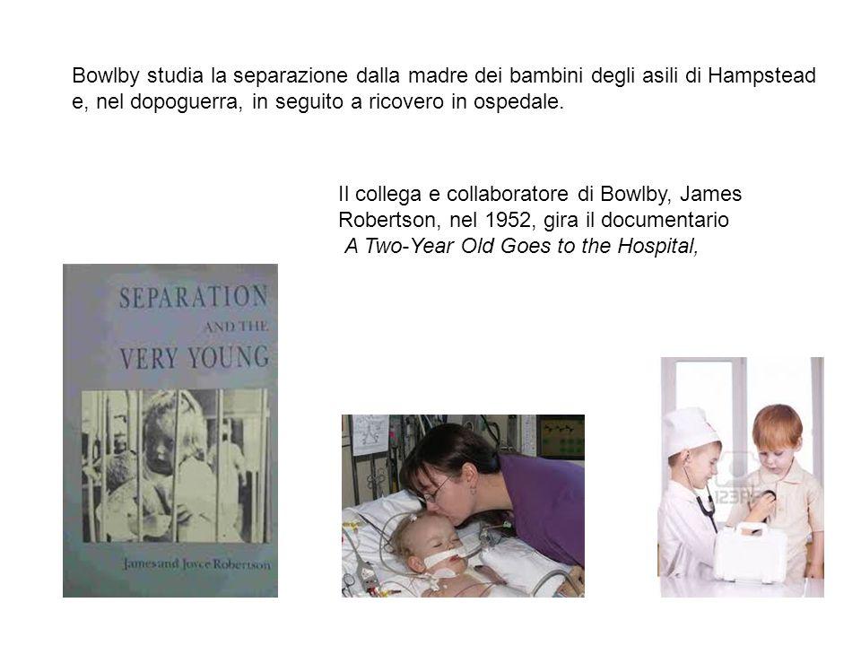Bowlby studia la separazione dalla madre dei bambini degli asili di Hampstead e, nel dopoguerra, in seguito a ricovero in ospedale.