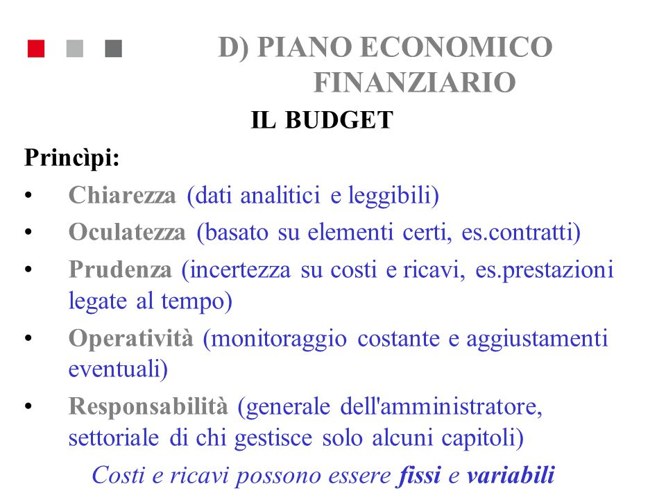 D) PIANO ECONOMICO FINANZIARIO