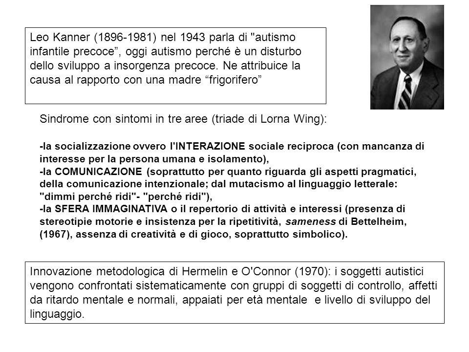 Sindrome con sintomi in tre aree (triade di Lorna Wing):