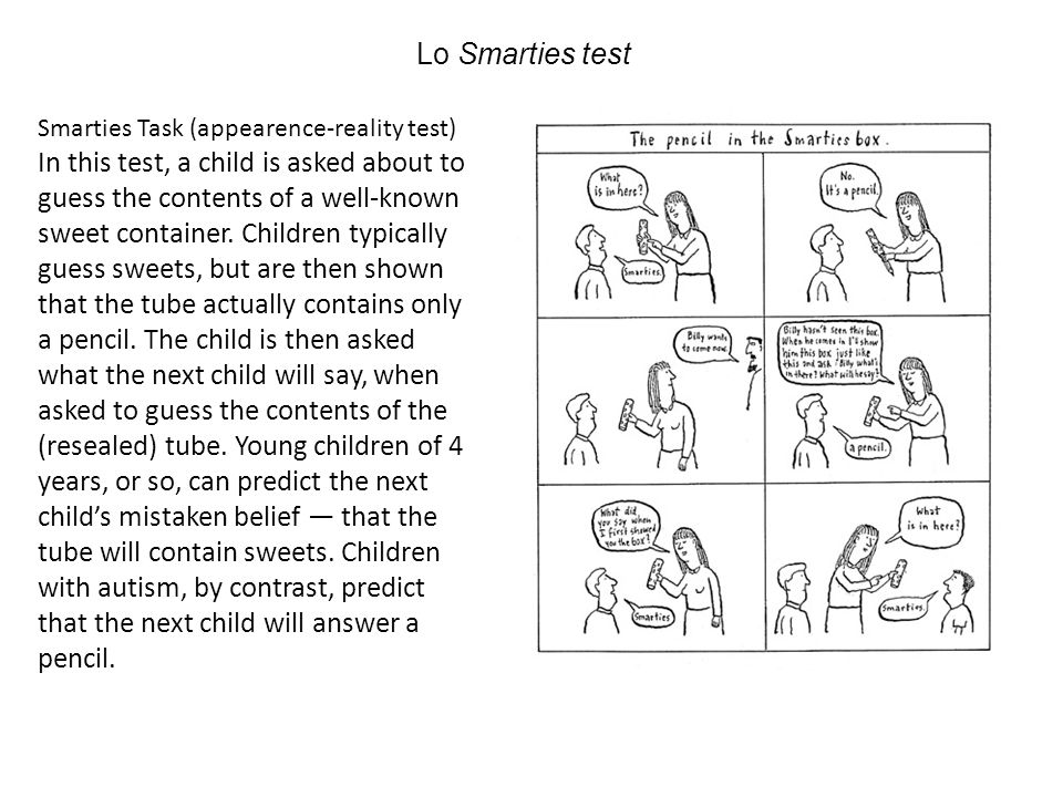 Lo Smarties test Smarties Task (appearence-reality test)