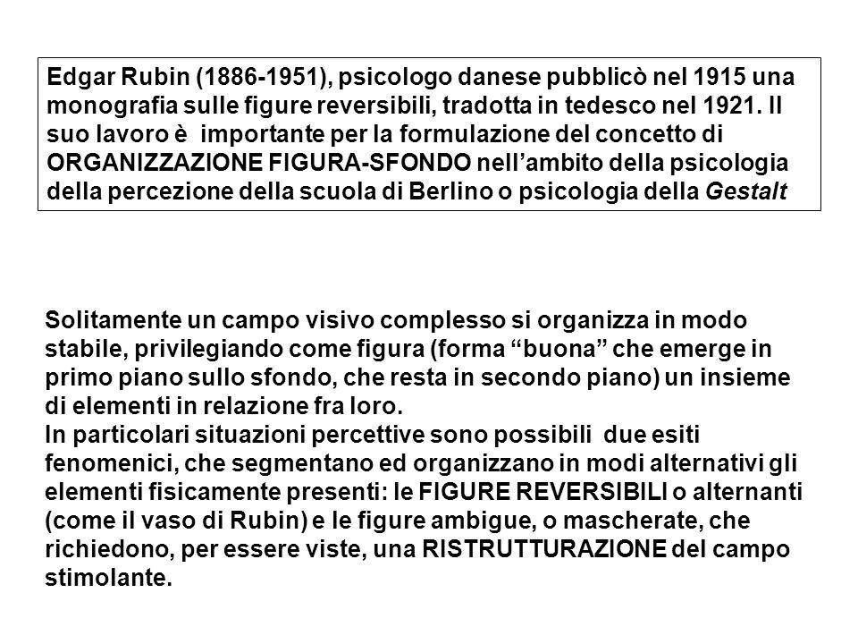 Edgar Rubin (1886-1951), psicologo danese pubblicò nel 1915 una monografia sulle figure reversibili, tradotta in tedesco nel 1921. Il suo lavoro è importante per la formulazione del concetto di ORGANIZZAZIONE FIGURA-SFONDO nell'ambito della psicologia della percezione della scuola di Berlino o psicologia della Gestalt