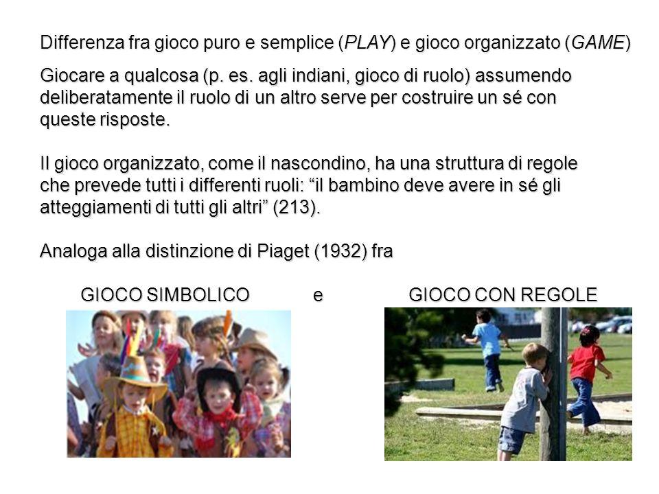 Differenza fra gioco puro e semplice (PLAY) e gioco organizzato (GAME)