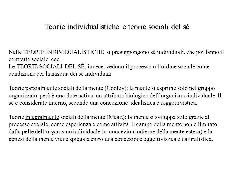 Teorie individualistiche e teorie sociali del sé