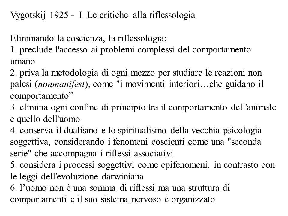 Vygotskij 1925 - I Le critiche alla riflessologia