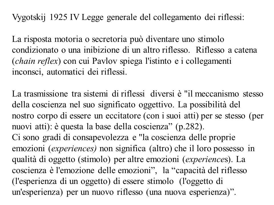 Vygotskij 1925 IV Legge generale del collegamento dei riflessi: