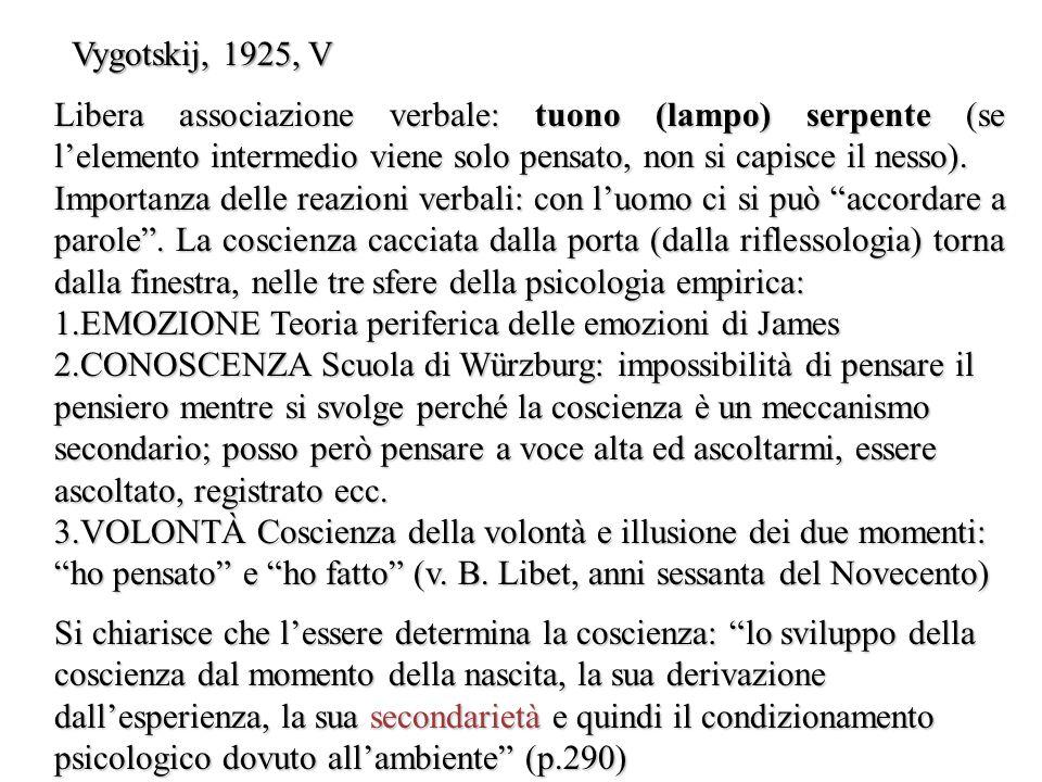 Vygotskij, 1925, V Libera associazione verbale: tuono (lampo) serpente (se l'elemento intermedio viene solo pensato, non si capisce il nesso).