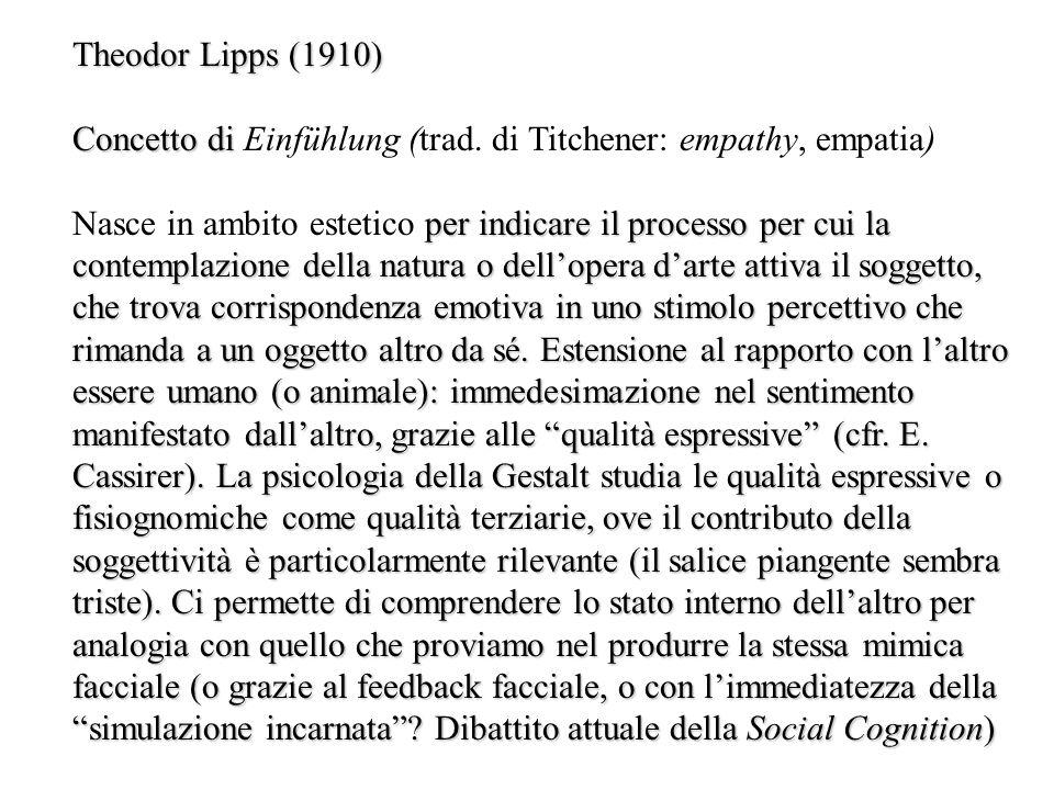 Theodor Lipps (1910) Concetto di Einfühlung (trad. di Titchener: empathy, empatia)