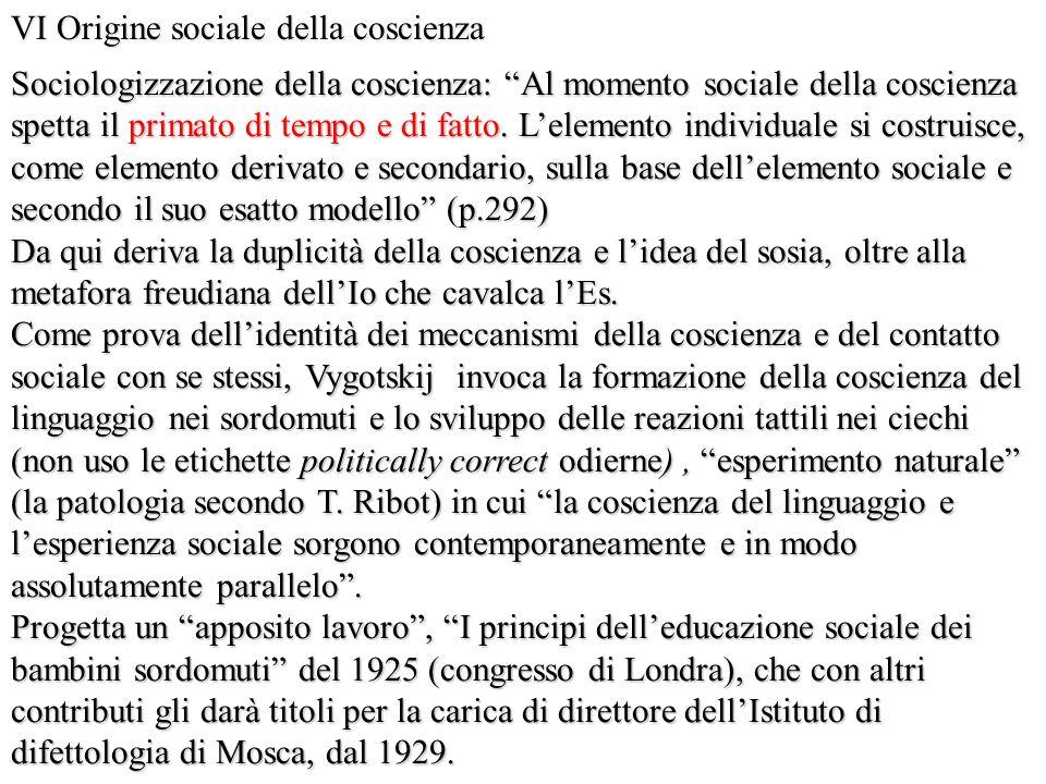 VI Origine sociale della coscienza