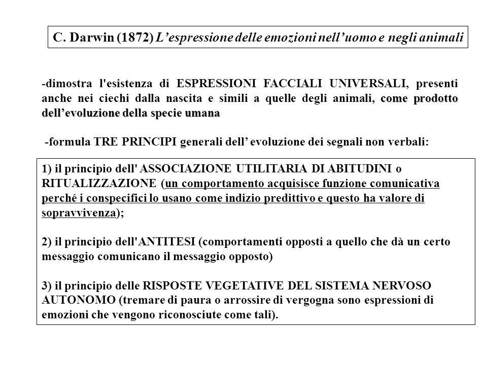 C. Darwin (1872) L'espressione delle emozioni nell'uomo e negli animali