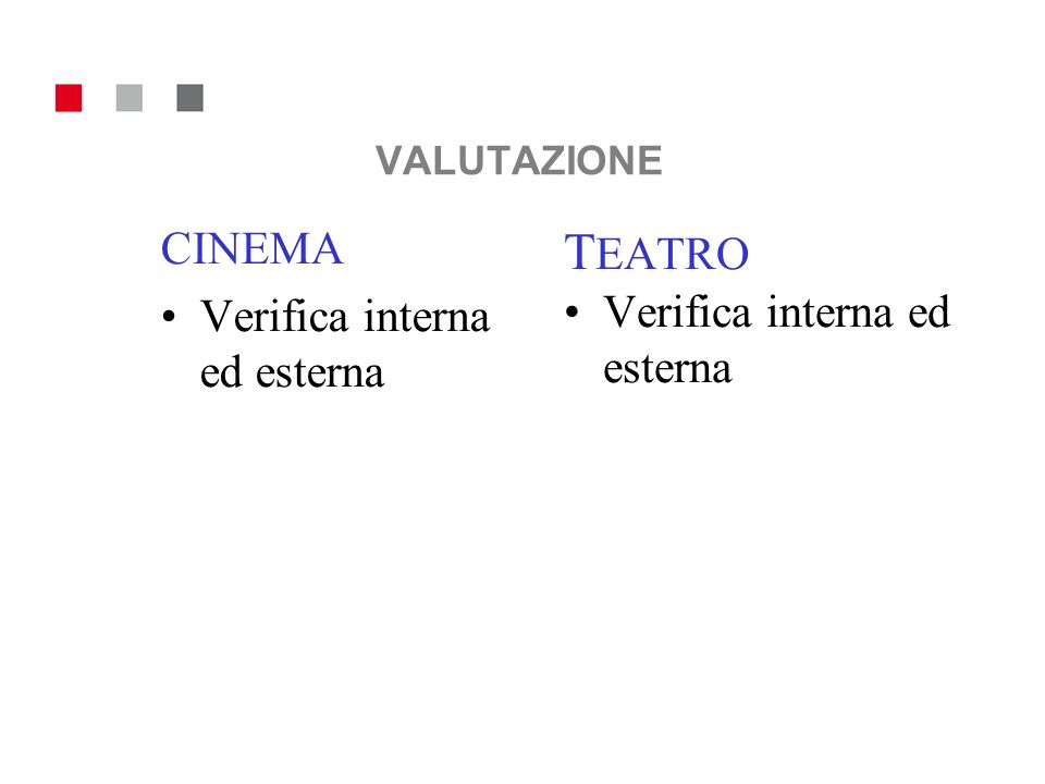 VALUTAZIONE TEATRO CINEMA Verifica interna ed esterna