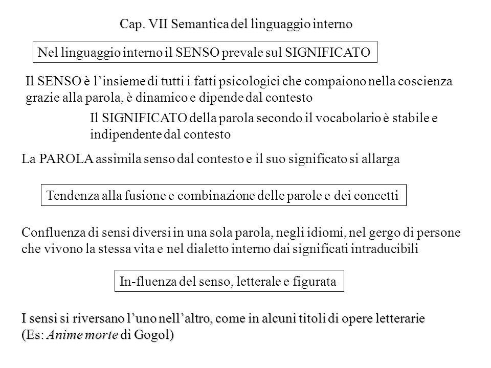Cap. VII Semantica del linguaggio interno