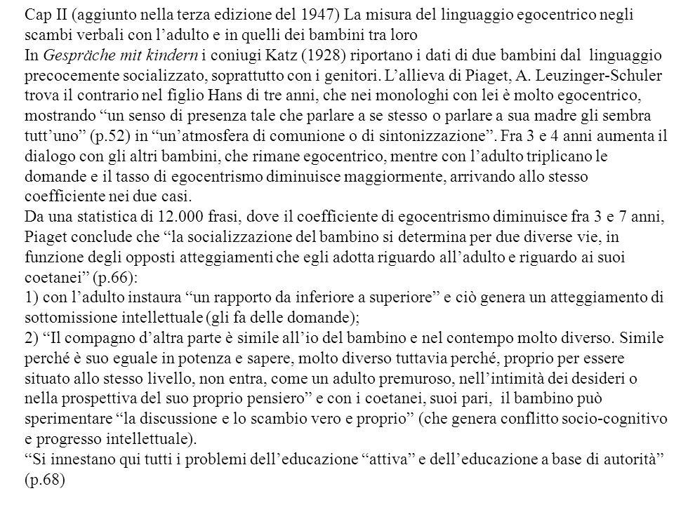 Cap II (aggiunto nella terza edizione del 1947) La misura del linguaggio egocentrico negli scambi verbali con l'adulto e in quelli dei bambini tra loro