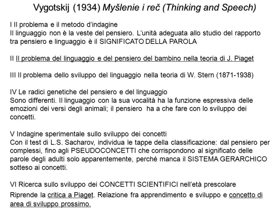 Vygotskij (1934) Myšlenie i reč (Thinking and Speech)