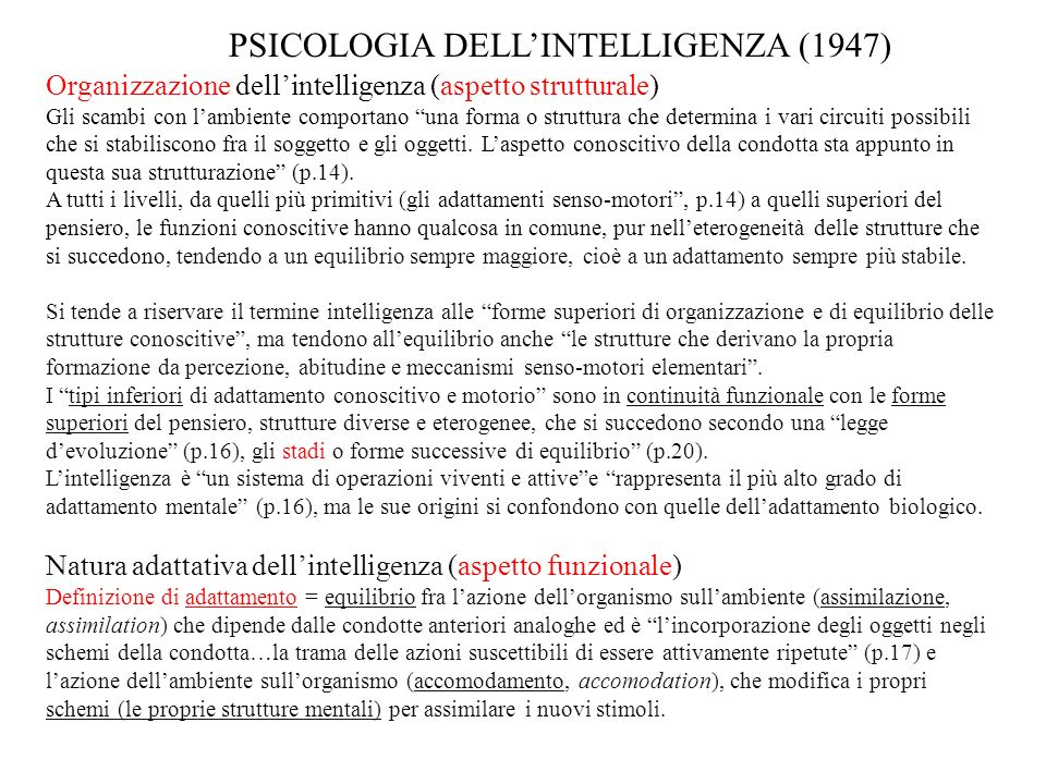 PSICOLOGIA DELL'INTELLIGENZA (1947)