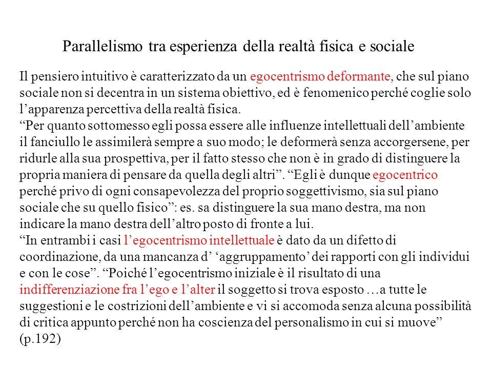 Parallelismo tra esperienza della realtà fisica e sociale