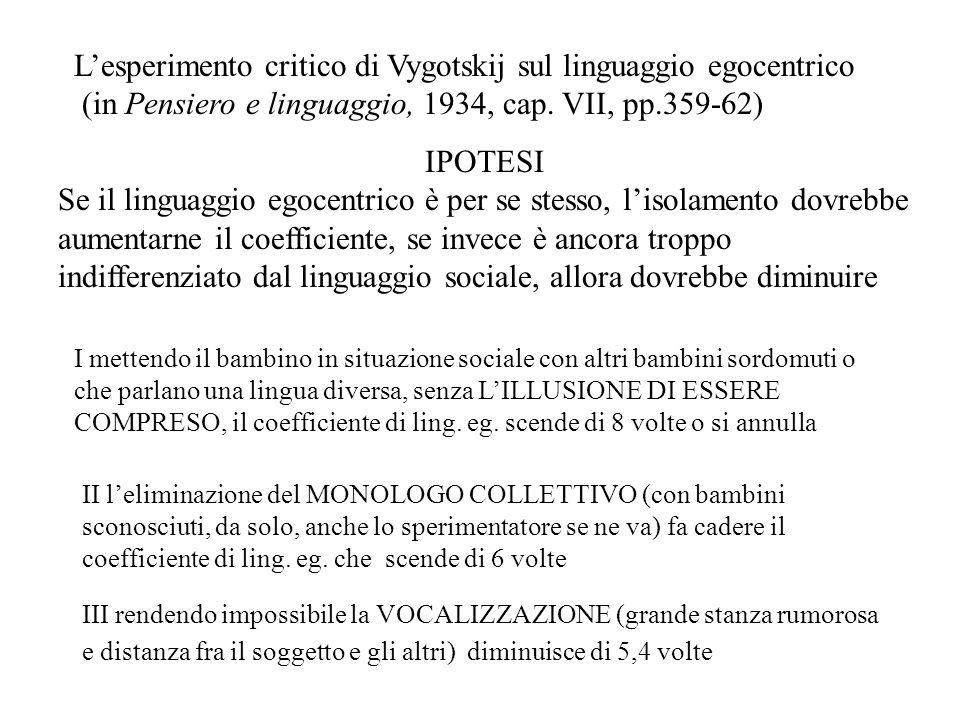 L'esperimento critico di Vygotskij sul linguaggio egocentrico