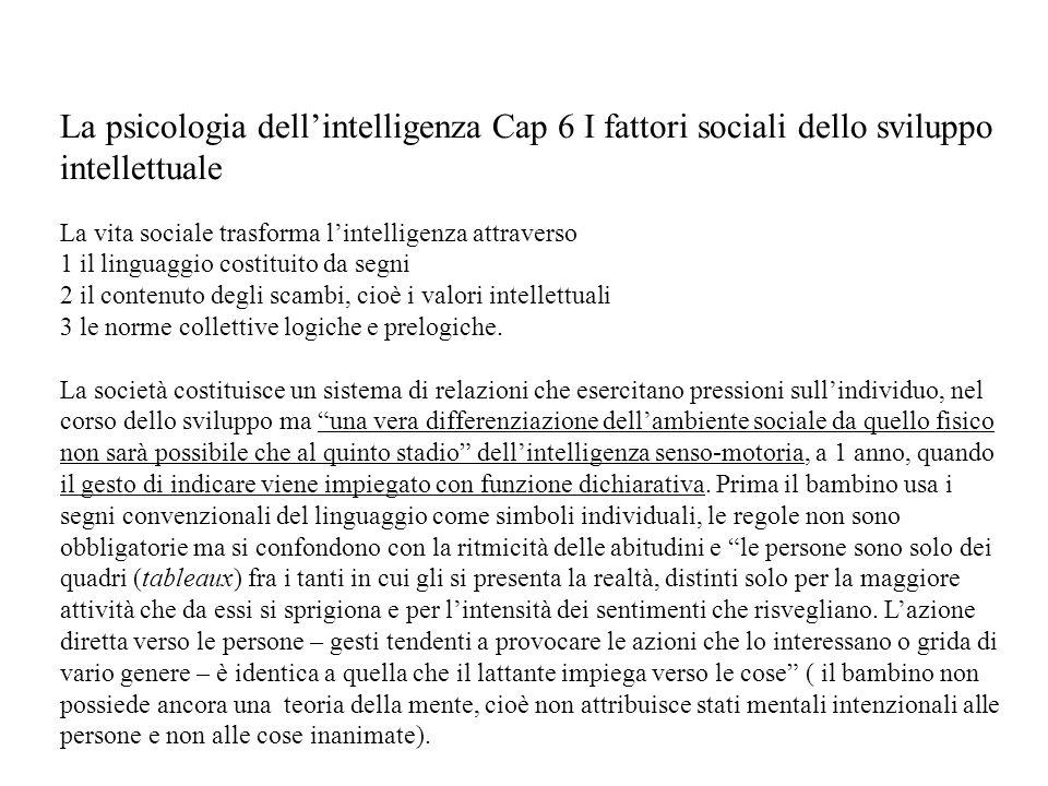La psicologia dell'intelligenza Cap 6 I fattori sociali dello sviluppo intellettuale