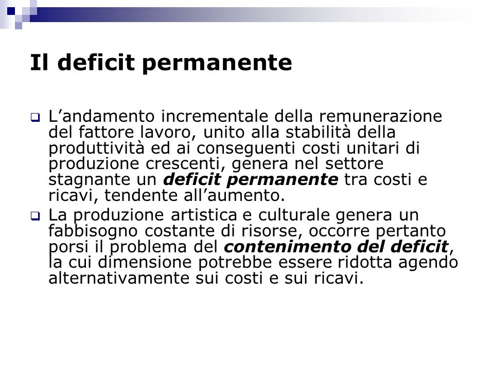 Il deficit permanente
