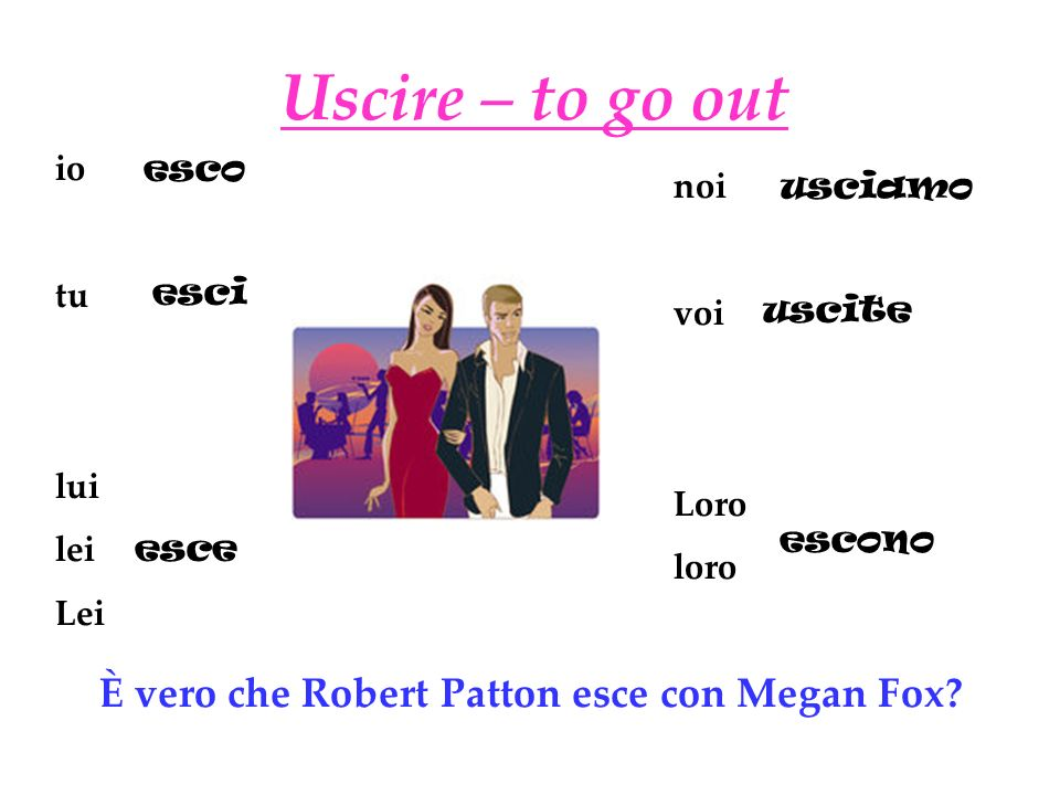 Uscire – to go out È vero che Robert Patton esce con Megan Fox io tu