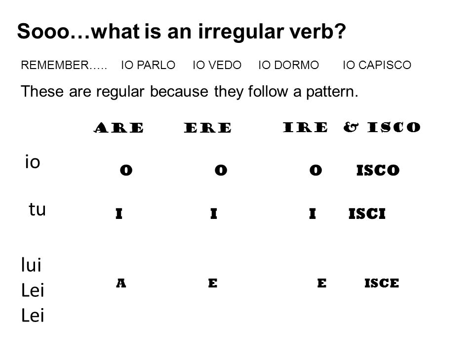 Sooo…what is an irregular verb