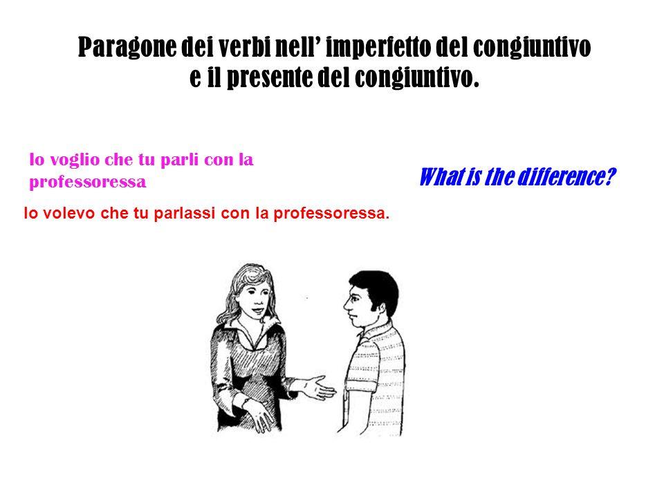 Paragone dei verbi nell' imperfetto del congiuntivo e il presente del congiuntivo.