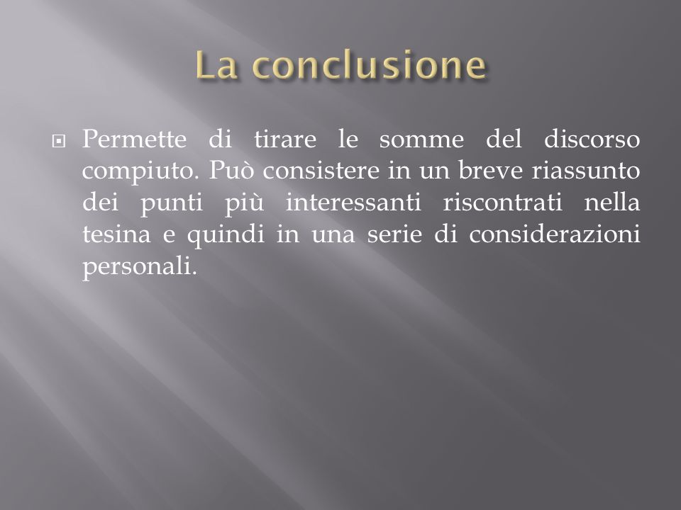 La conclusione