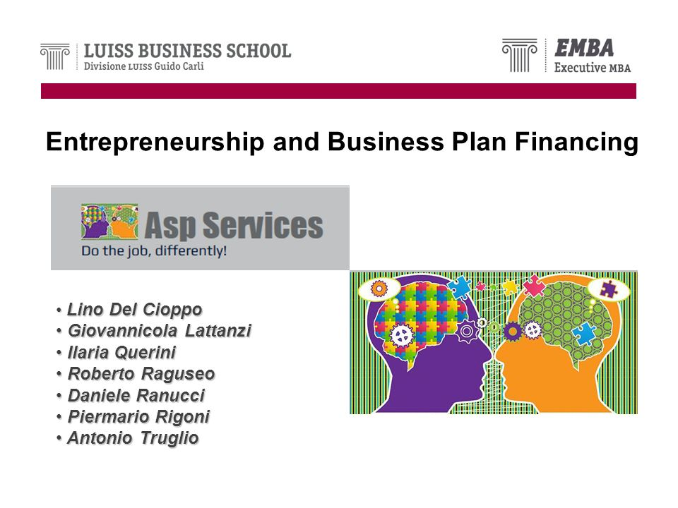 Entrepreneurship and Business Plan Financing