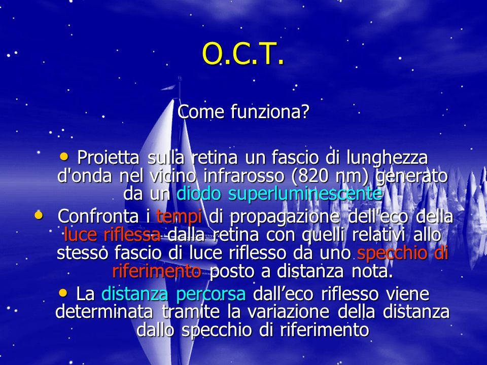 O.C.T. Come funziona Proietta sulla retina un fascio di lunghezza d onda nel vicino infrarosso (820 nm) generato da un diodo superluminescente.