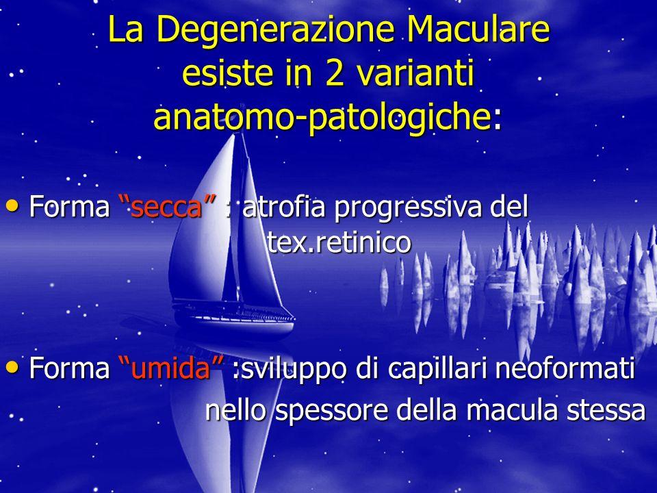 La Degenerazione Maculare esiste in 2 varianti anatomo-patologiche: