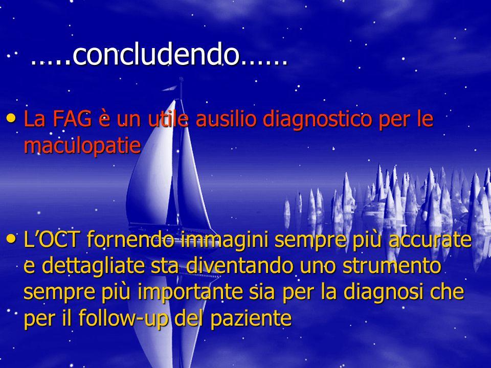 …..concludendo…… La FAG è un utile ausilio diagnostico per le maculopatie.