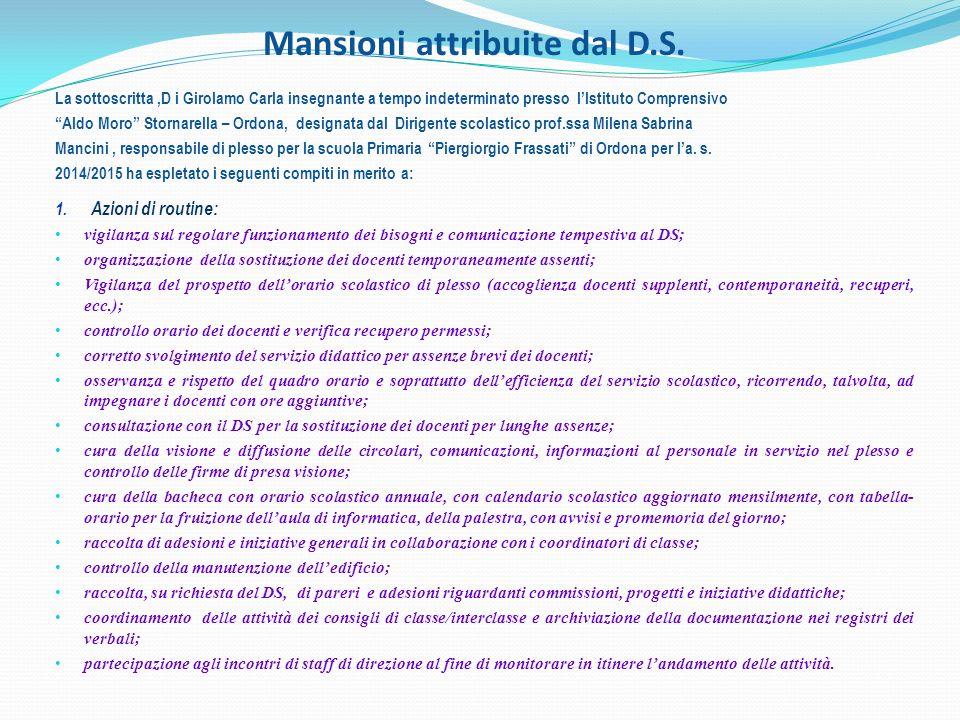Mansioni attribuite dal D.S.