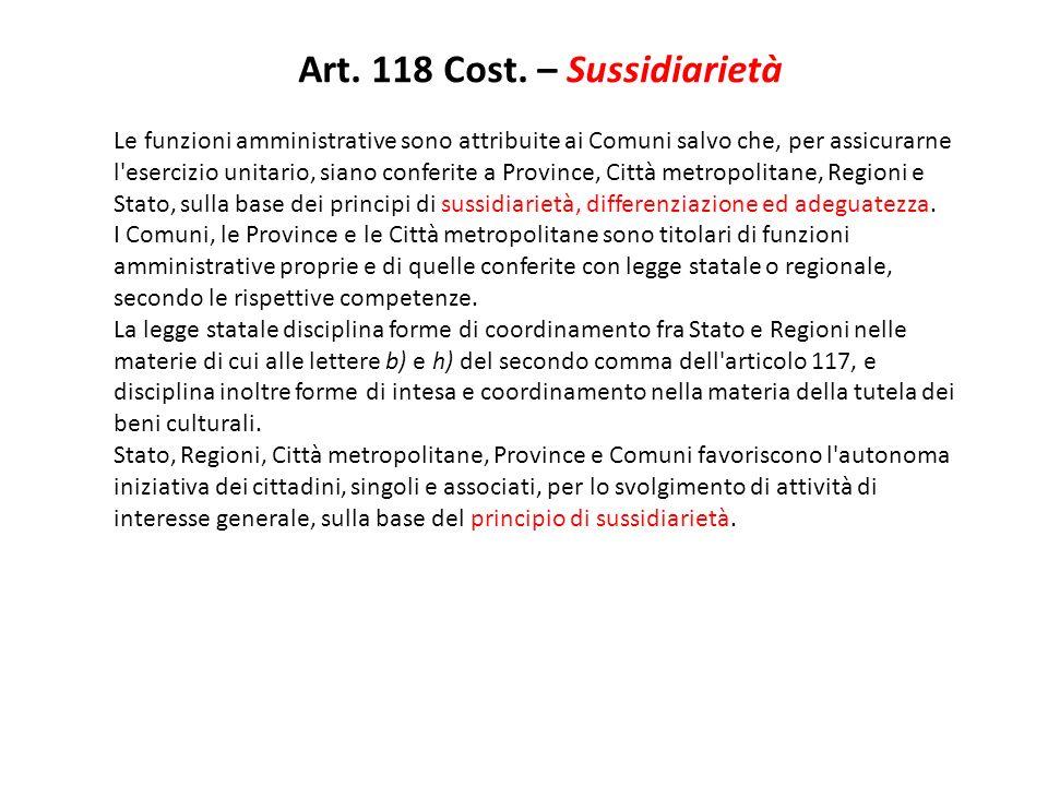 Art. 118 Cost. – Sussidiarietà
